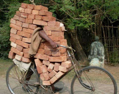 Bricks on a bicycle