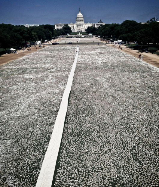 The One Million Bones installation on the National Mall in Washington DC, USA.