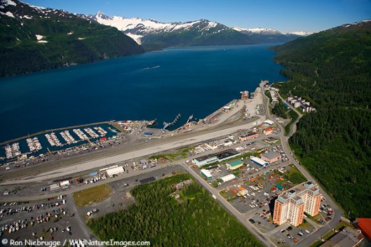 Aerial of the city of Whittier, Chugach National Forest, Alaska.