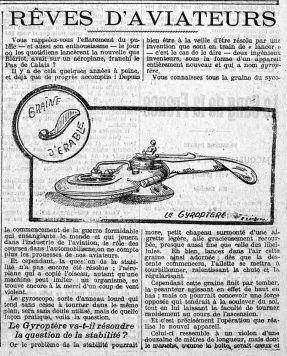 Le Petit Journal, 4 avril 1915 : une nouvelle invention qui va révolutionner l'aéronautique : le gyroptère.