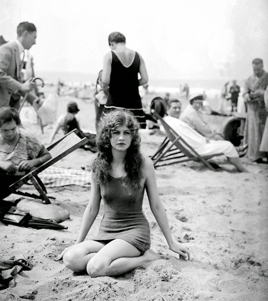 A swimmer on the beach of Deauville, Calvados, France, circa 1925