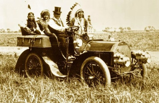 Geronimo, leader of the Bedonkohe Apache, taking a drive in a Locomobile Model C, 1905