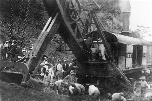 5. President Theodore Roosevelt on a steam-powered digging machine during construction of the Panama Canal, 1908