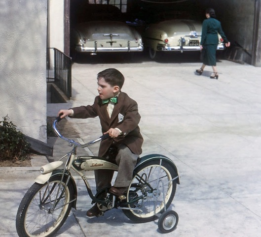 A boy on his Schwinn bicycle, 1952