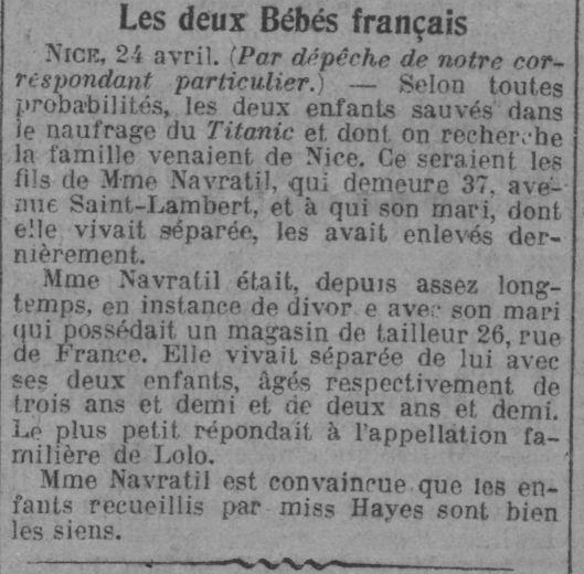 Le Journal, édition du 25 avril 1912. Source.