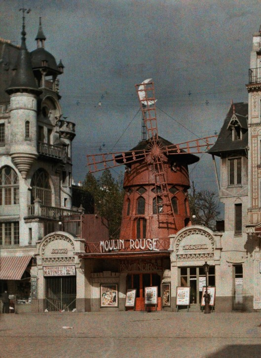 ca. January 1923, Paris, France --- The Moulin Rouge at Montmartre --- Image by © Gervais Courtellemont/National Geographic Creative/Corbis