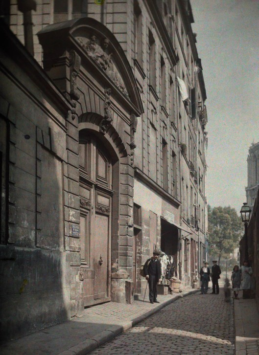 ca. January 1923, Paris, France --- The street of Saint Julian the Poor in Old Paris --- Image by © Gervais Courtellemont/National Geographic Creative/Corbis