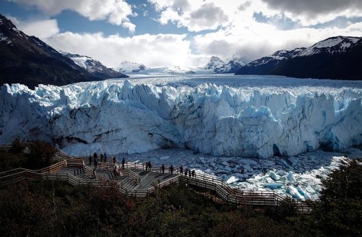 SANTA CRUZ PROVINCE, ARGENTINA - NOVEMBER 27:  The Perito Moreno glacier stands in Los Glaciares National Park, part of the Southern Patagonian Ice Field, the third largest ice field in the world, on November 27, 2015 in Santa Cruz Province, Argentina. The majority of the almost fifty large glaciers in the park have been retreating over the past fifty years due to warming temperatures, according to the European Space Agency (ESA). The United States Geological Survey (USGS) reports that over 68 percent of the world's freshwater supplies are locked in icecaps and glaciers. The United Nations climate change conference begins November 30 in Paris.  (Photo by Mario Tama/Getty Images)