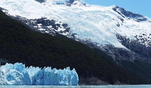 SANTA CRUZ PROVINCE, ARGENTINA - NOVEMBER 28:  The Spegazzini glacier (L) and Heim glacier stand in Los Glaciares National Park, part of the Southern Patagonian Ice Field, the third largest ice field in the world, on November 28, 2015 in Santa Cruz Province, Argentina. The majority of the almost fifty large glaciers in the park have been retreating over the past fifty years due to warming temperatures, according to the European Space Agency (ESA). The United States Geological Survey reports that over 68 percent of the world's freshwater supplies are locked in icecaps and glaciers. The United Nations climate change conference begins November 30 in Paris.  (Photo by Mario Tama/Getty Images)