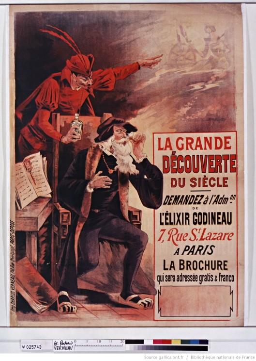 La Grande découverte du Siècle... l'Elixir Godineau. Affiche de 1890. Source