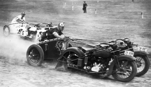 Motorcycle Chariot race in New South Wales, Australia, 1936
