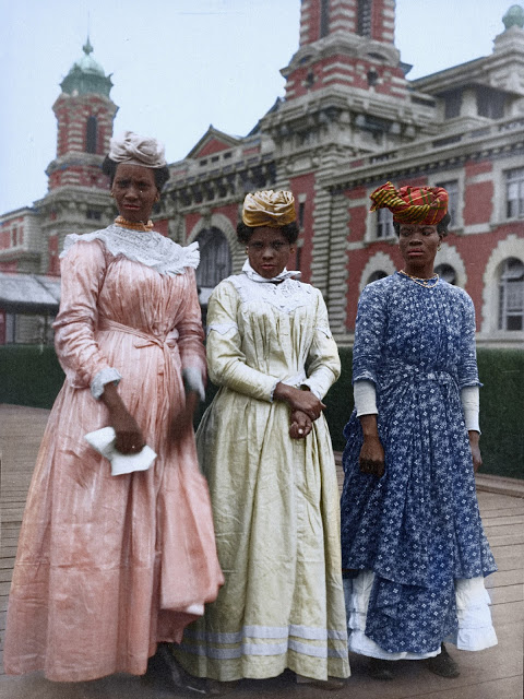 Portrait of three women from Guadeloupe at the Ellis Island Immigration Station, 1911