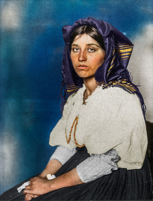 Portrait of an Italian woman at the Ellis Island Immigration Station, 1906