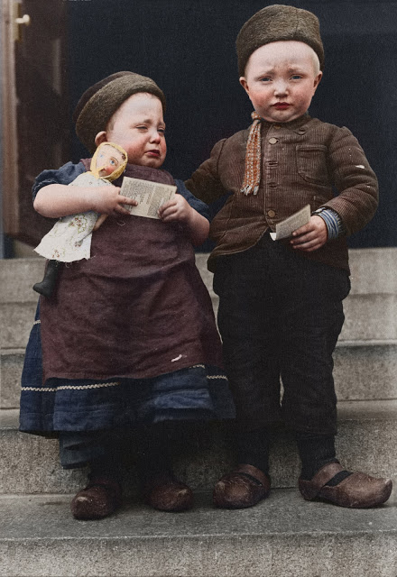 Portrait of Dutch siblings at the Ellis Island Immigration Station, circa 1905