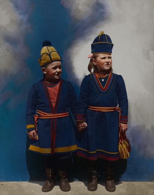 Portrait of Lapland children, possibly from Sweden at the Ellis Island Immigration Station, circa 1905-1914.