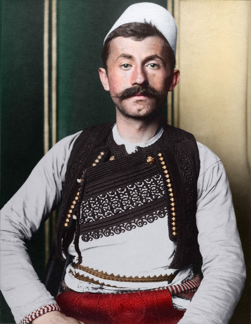 Portrait of an Albanian soldier at the Ellis Island Immigration Station, circa 1905-1914.