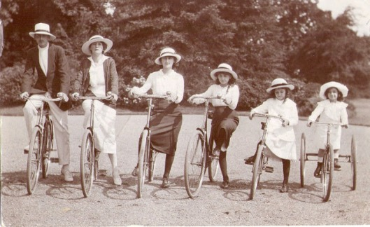Generation family with their bicycles, ca. 1910s