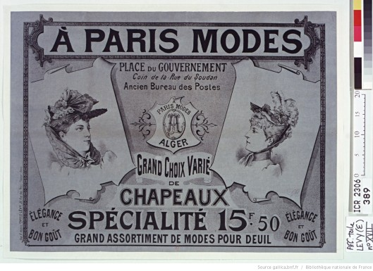 Grand assortiment de modes pour deuil. Élégance et bon goût. Publicité de 1892. Source.