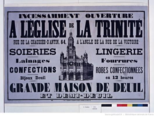 A l'église de la Trinité, Grande maison de deuil (avec des soieries). Publicité de 1855. Source.