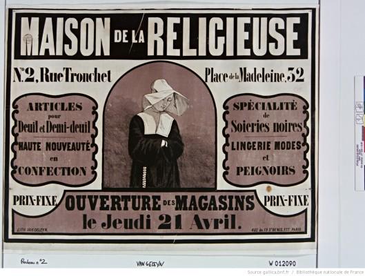 Maison de la religieuse. Spécialité de soieries noires, lingeries mode (tant qu'à porter le deuil, autant accorder ses frous-frous). Publicité de 1859. Source.